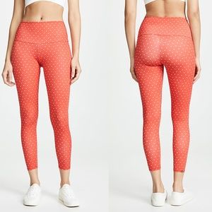 Onzie High Rise Midi Heart Leggings Red Hot